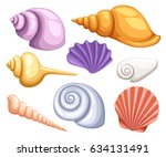 colorful tropical shells... | Shutterstock .eps vector #634131491