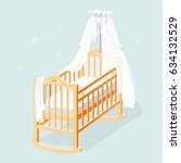 baby cot with white canopy ... | Shutterstock .eps vector #634132529