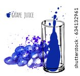 grape juice in glass and...   Shutterstock .eps vector #634132961