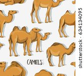 camel silhouettes set pattern | Shutterstock .eps vector #634134095