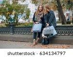 two girls walking city. ... | Shutterstock . vector #634134797