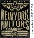 vintage motorcycle hand drawn... | Shutterstock . vector #634139354
