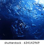 blue water and air bubbles  | Shutterstock . vector #634142969