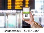 e ticket on smartphone screen... | Shutterstock . vector #634143554