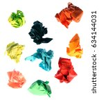 collection colorful crumpled... | Shutterstock . vector #634144031