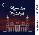 eid mubarak  ramadan greeting... | Shutterstock . vector #634150091