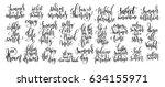 set of 25 handwritten lettering ... | Shutterstock .eps vector #634155971