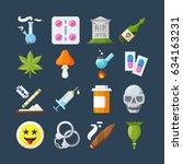 illegal drugs flat icons set.... | Shutterstock .eps vector #634163231