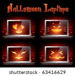 halloween creative laptops  ... | Shutterstock .eps vector #63416629