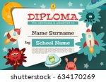 certificate kids diploma. space ... | Shutterstock .eps vector #634170269