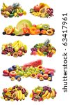 Variety of fresh colorful fruits collage - stock photo