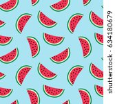 slice of red watermelon on a... | Shutterstock .eps vector #634180679
