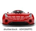 amazing fiery red super car  ... | Shutterstock . vector #634186991