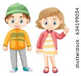 cute girl and boy in winter... | Shutterstock .eps vector #634199054