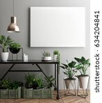 interior poster mock up with... | Shutterstock . vector #634204841