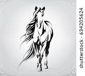 Stock vector vector silhouette of a horse 634205624