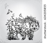 silhouette of a bear from... | Shutterstock .eps vector #634205855