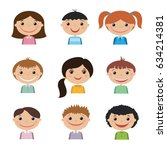 set of smiling kids | Shutterstock . vector #634214381