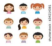 set of smiling kids | Shutterstock . vector #634214381