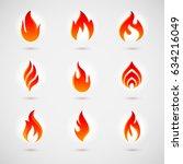fire icons set for design.... | Shutterstock .eps vector #634216049