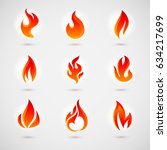 fire icons set. colorful flames ... | Shutterstock .eps vector #634217699
