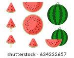 watermelon fresh slices. set of ...   Shutterstock .eps vector #634232657