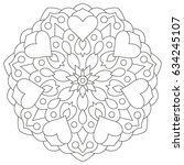 flower mandala with hearts.... | Shutterstock .eps vector #634245107