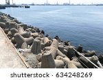 Small photo of Concrete tetrapod at coast line to prevent erosion and provide barrier protection against strong waves