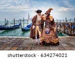 venetian masked model from the... | Shutterstock . vector #634274021