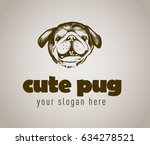 dog logo with cute pug.   | Shutterstock .eps vector #634278521