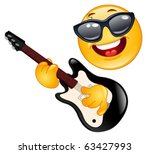 rock emoticon playing the guitar