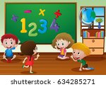 kids learning in classroom... | Shutterstock .eps vector #634285271