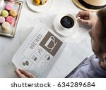 man drinking coffee with...   Shutterstock . vector #634289684