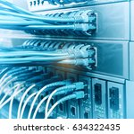 fiber optic cables connected to ... | Shutterstock . vector #634322435