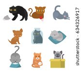 cute cats character different... | Shutterstock .eps vector #634326917