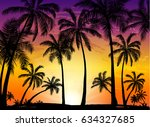 card with realistic palm trees... | Shutterstock .eps vector #634327685