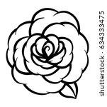 flower rose  black and white.... | Shutterstock .eps vector #634333475