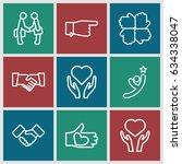 hands icons set. set of 9 hands ... | Shutterstock .eps vector #634338047