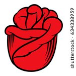 red rose isolated on white... | Shutterstock .eps vector #634338959