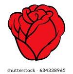 red rose isolated on white... | Shutterstock .eps vector #634338965