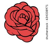 red rose isolated on white... | Shutterstock .eps vector #634338971