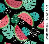 summer seamless pattern.... | Shutterstock .eps vector #634345775