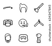 beard icons set. set of 9 beard ... | Shutterstock .eps vector #634347845