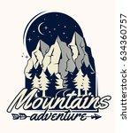 mountains adventure monochrome... | Shutterstock .eps vector #634360757