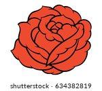 red rose isolated on white... | Shutterstock .eps vector #634382819