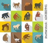 monkey types icons set. flat...   Shutterstock . vector #634383941