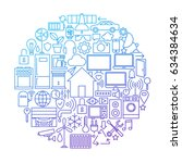 smart house line icon circle...   Shutterstock .eps vector #634384634