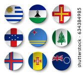 set of world flags round badges ... | Shutterstock .eps vector #634384985