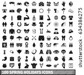 100 spring holidays icons set... | Shutterstock . vector #634386275