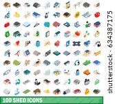 100 shed icons set in isometric ... | Shutterstock . vector #634387175